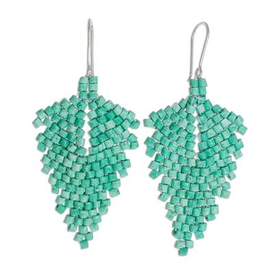 Ceramic beaded dangle earrings, 'Elegant Wind in Green' - Leaf-Shaped Ceramic Beaded Dangle Earrings in Green