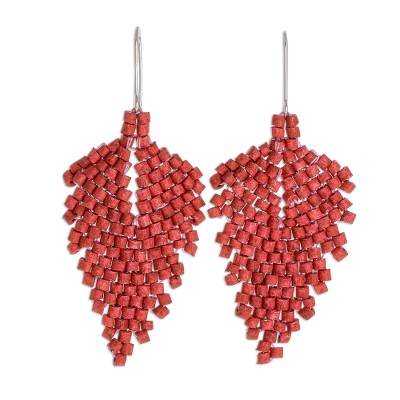 Ceramic beaded dangle earrings, 'Elegant Wind in Chili' - Leaf-Shaped Ceramic Beaded Dangle Earrings in Chili