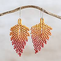Ceramic beaded dangle earrings, 'Elegant Autumn' - Autumnal Ceramic Beaded Dangle Earrings from Guatemala