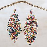 Ceramic beaded dangle earrings, 'Free Movement in Multicolor' - Multicolored Ceramic Beaded Dangle Earrings from Guatemala