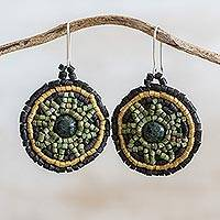 Jade and ceramic beaded dangle earrings, 'Cultural Inheritance' - Jade and Ceramic Beaded Dangle Earrings from Guatemala