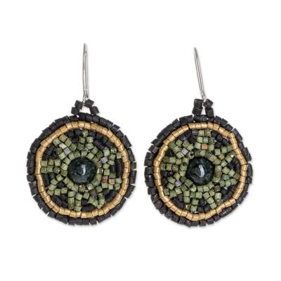 Jade and Ceramic Beaded Dangle Earrings from Guatemala