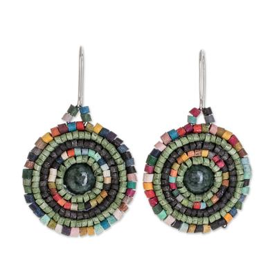Jade and Colorful Ceramic Beaded Dangle Earrings