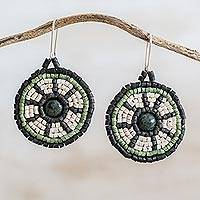 Jade and ceramic beaded dangle earrings, 'Mystic Inheritance' - Dark Green Jade and Ceramic Beaded Dangle Earrings
