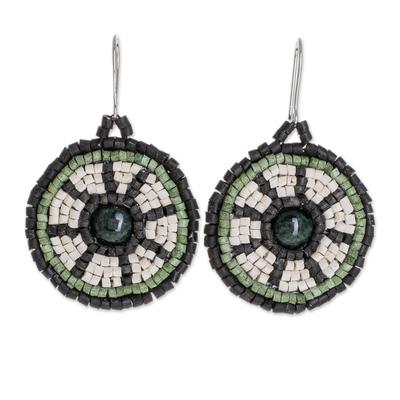 Dark Green Jade and Ceramic Beaded Dangle Earrings