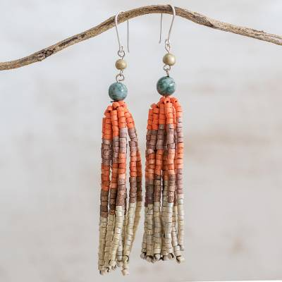 Jade and ceramic beaded waterfall earrings, Tradition and Culture