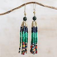 Jade and ceramic beaded waterfall earrings, 'Tradition and Custom' - Dark Green Jade and Ceramic Beaded Waterfall Earrings