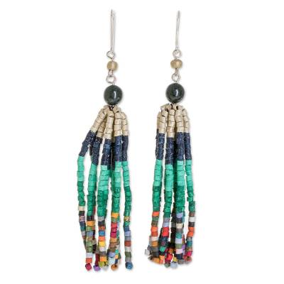 Jade and ceramic beaded waterfall earrings, 'Tradition and Custom' - Dark Green Jade and Ceramic Beaded Waterfall Earrings
