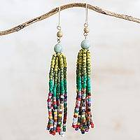 Jade and ceramic beaded waterfall earrings, 'Tradition and Expression' - Apple Green Jade and Ceramic Beaded Waterfall Earrings