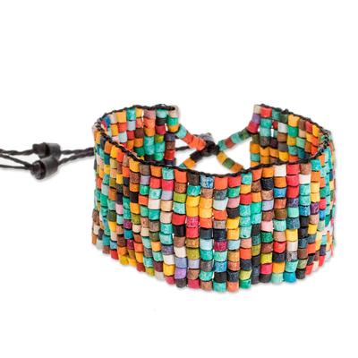 Colorful Ceramic Beaded Wristband Bracelet from Guatemala