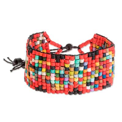 Handmade Ceramic Beaded Wristband Bracelet from Guatemala