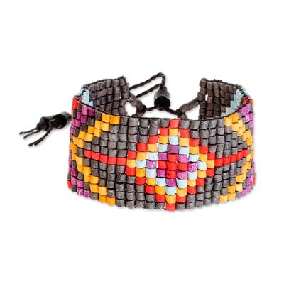 Diamond Motif Ceramic Beaded Wristband Bracelet