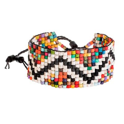 Zigzag Motif Ceramic Beaded Wristband Bracelet