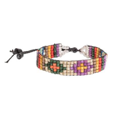 Diamond Pattern Ceramic Beaded Wristband Bracelet