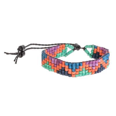 Colorful Zigzag Ceramic Beaded Wristband Bracelet