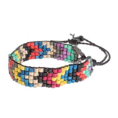 Chevron Motif Ceramic Beaded Wristband Bracelet