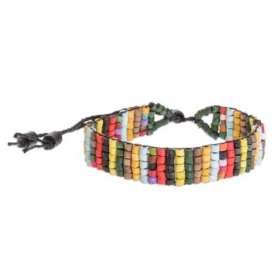 Colorful Striped Ceramic Beaded Wristband Bracelet
