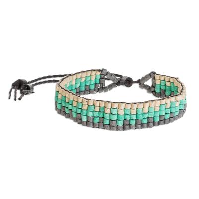 Wave Motif Ceramic Beaded Wristband Bracelet from Guatemala
