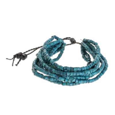 Blue Ceramic Beaded Torsade Bracelet from Guatemala