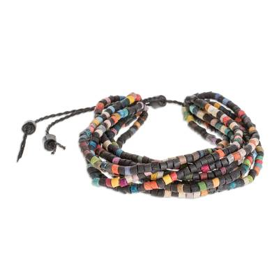 Colorful Ceramic Beaded Torsade Bracelet from Guatemala