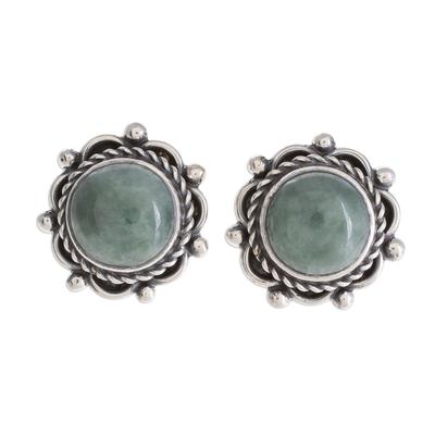 Jade button earrings, 'Sunrise in Antigua' - Green Jade Button Earrings Crafted in Guatemala