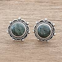 Jade button earrings, 'Antigua Sun' - Dark Green Jade Button Earrings from Guatemala