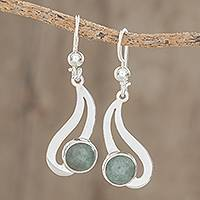 Jade dangle earrings, 'Apple Green Maya Rain' - Teardrop Apple Green Jade Dangle Earrings from Guatemala