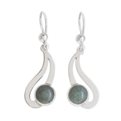 Jade dangle earrings, 'Apple Green Maya Rain' - Teardrop Apple Green Jade Dangle Earrings from Guatemala