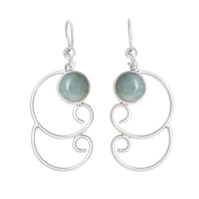 Jade dangle earrings, 'Apple Green Maya Treasure' - Curl Pattern Apple Green Jade Dangle Earrings from Guatemala