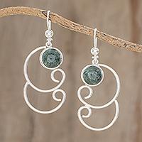 Jade dangle earrings, 'Dark Green Maya Treasure' - Curl Pattern Dark Green Jade Dangle Earrings from Guatemala
