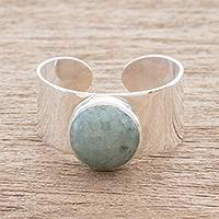 Jade single-stone ring, 'Maya Wrap in Apple Green' - Apple Green Jade Single-Stone Ring from Guatemala