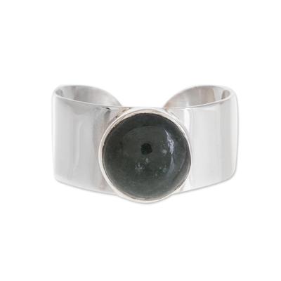 Jade single-stone ring, 'Maya Wrap in Dark Green' - Dark Green Jade Single-Stone Ring from Guatemala