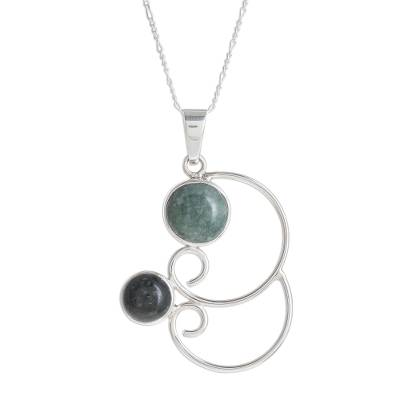 Jade pendant necklace, 'Maya Treasures' - Swirl Pattern Jade Pendant Necklace from Guatemala