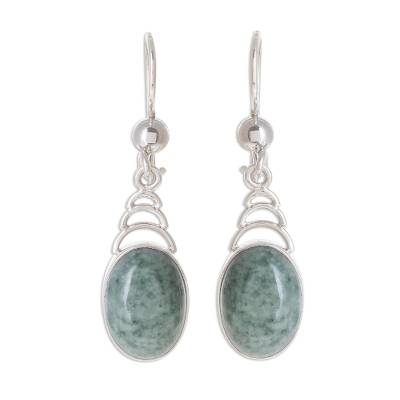 Jade dangle earrings, 'Apple Green Antique Arcs' - Arc Motif Apple Green Jade Dangle Earrings from Guatemala