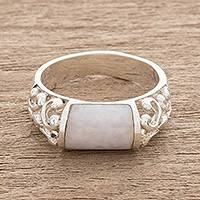 Jade domed ring, 'Sweet Maya in Lilac' - Lilac Jade Domed Ring Crafted in Guatemala