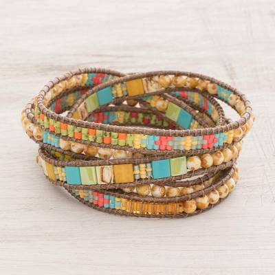 Glass bead wrap bracelet, Fields of Happiness