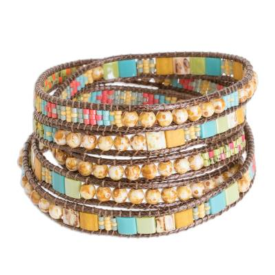 Colorful Blue Yellow and Orange Glass Bead Wrap Bracelet