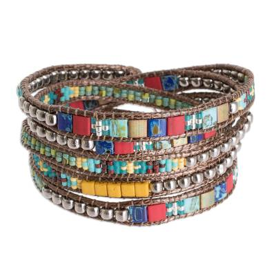 Colorful Blue Red and Green Glass Bead Wrap Bracelet