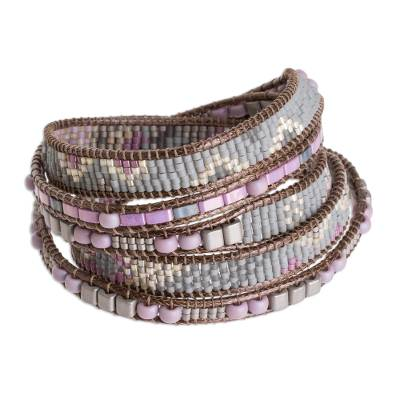 Light Grey and Pink and Lilac Glass Bead Wrap Bracelet