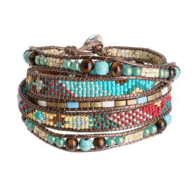 Colorful Turquoise Blue Red Yellow Glass Bead Wrap Bracelet