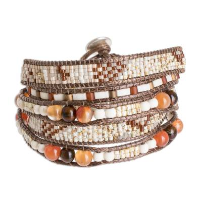 Handcrafted Brown Orange and White Glass Bead Wrap Bracelet