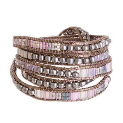 Handcrafted Pink Grey and Lilac Glass Bead Wrap Bracelet
