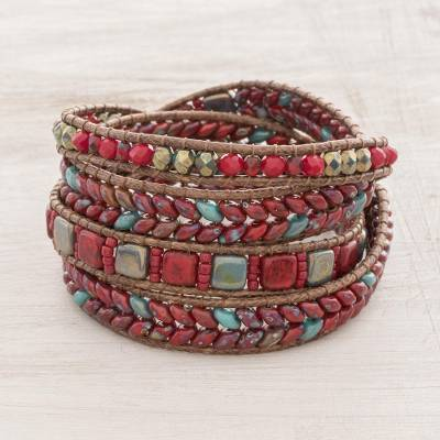 Glass beaded wrap bracelet, 'Firelit Sky' - Red and Turquoise Blue Gold Tone Glass Bead Wrap Bracelet