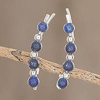 Lapis lazuli beaded ear climbers, 'Blue Calm' - Lapis Lazuli Beaded Ear Climbers from Guatemala