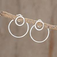 Sterling silver dangle earrings, 'Planetary Rings' - Circular Sterling Silver Dangle Earrings from Guatemala