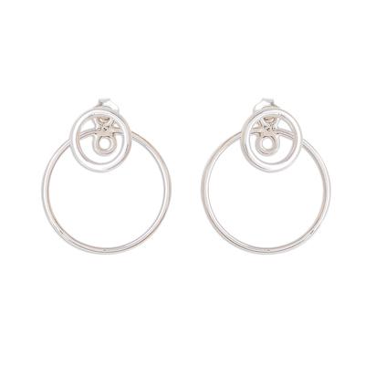 Sterling silver drop earrings, 'Planetary Rings' - Circular Sterling Silver Drop Earrings from Guatemala