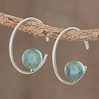 Jade half-hoop earrings, 'Jade Silhouette' - Round Jade Half-Hoop Earrings from Guatemala