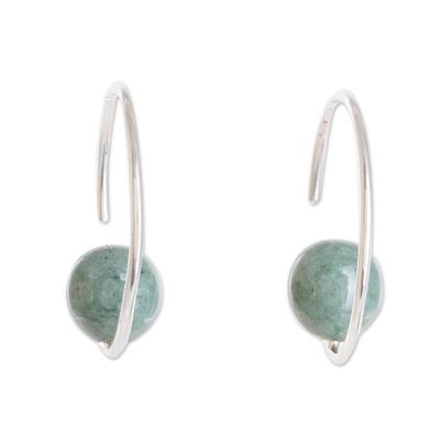 Jade half-hoop earrings, 'Jade Silhouette' - Round Jade Half-Hoop Earrings from Guatemala