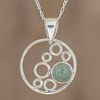 Jade pendant necklace, 'Form and Color' - Circle Motif Jade Pendant Necklace from Guatemala