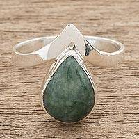 Jade cocktail ring, 'Maya Drop' - Apple Green Teardrop Jade Cocktail Ring from Guatemala